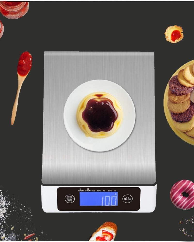 Maxjaa - Báscula digital de cocina de acero inoxidable para el hogar, báscula electrónica de cocina con pantalla LCD y control táctil inteligente, peso máximo de 15 kg (plata+negro)