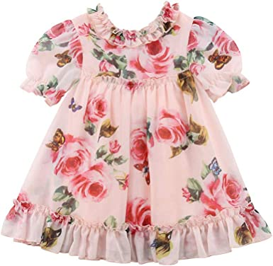 Toddler Kid Baby Girl Solid Flower d Princess Party Dress Sundress Clothes