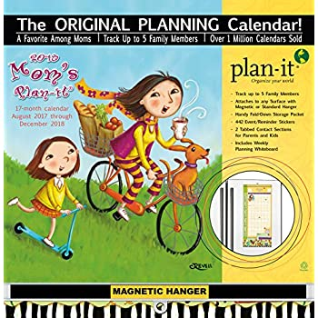 """Wells Street by LANG - 2018 Plan-It Wall Calendar - """"Mom's"""" Artwork by Cindy Revell - 17 Month (Aug. 2017 - Dec. 2018) -  Pocket, Tab, Whiteboard - Open Size 12"""" x 26"""""""