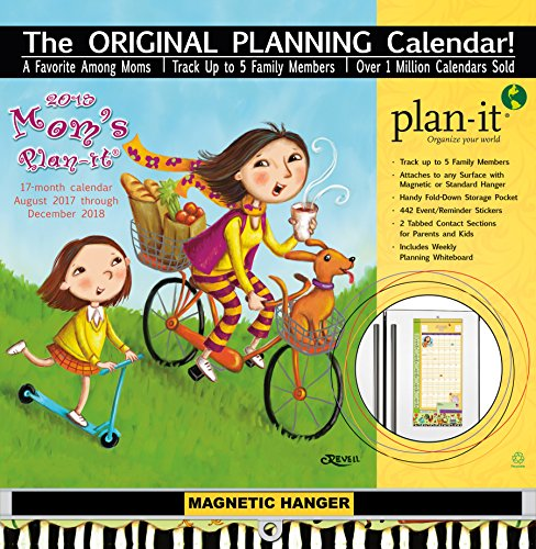"Wells Street by LANG - 2018 Plan-It Wall Calendar - ""Mom's"" Artwork by Cindy Revell - 17 Month (Aug. 2017 - Dec. 2018) -  Pocket, Tab, Whiteboard - Open Size 12"" x 26"""
