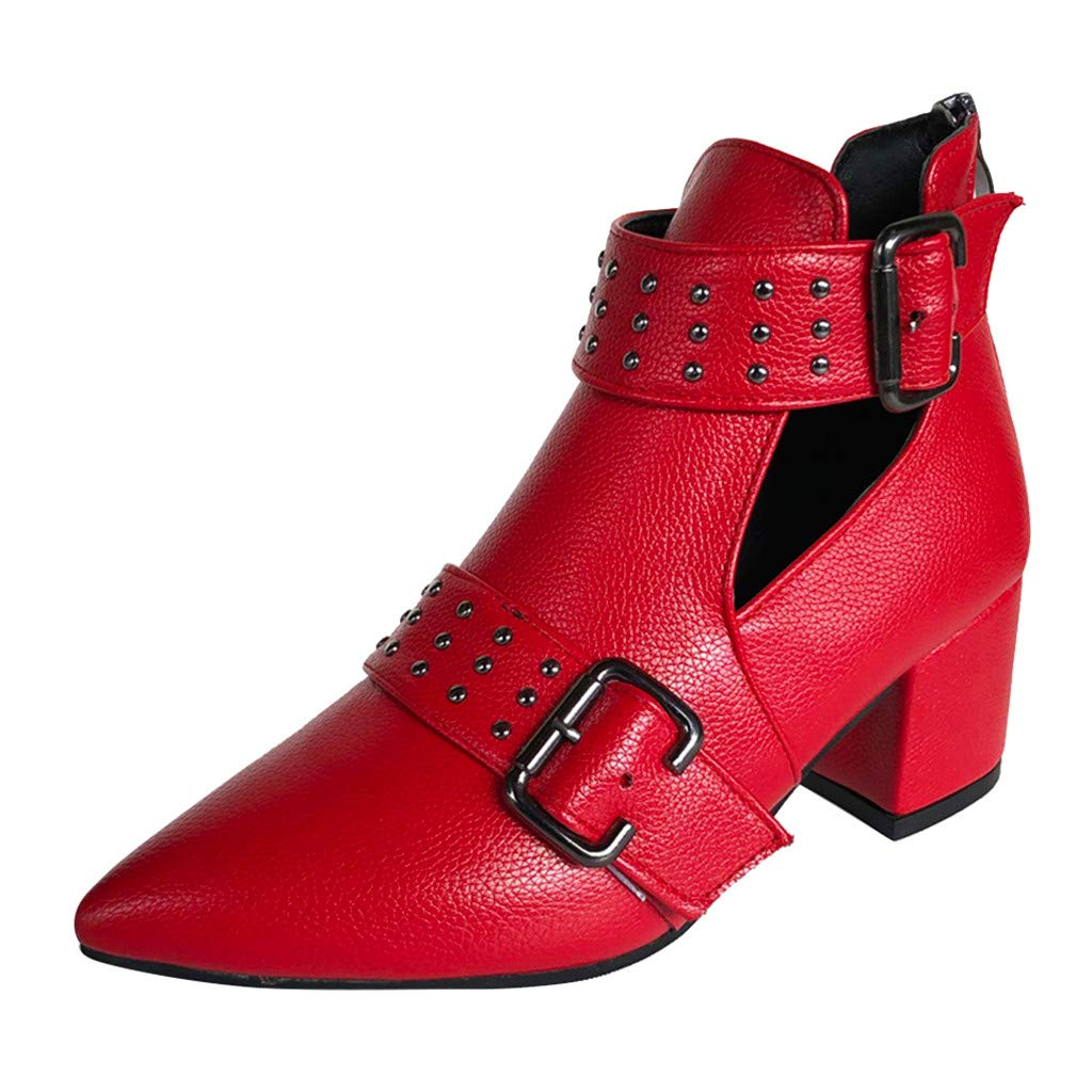 Dermanony Womens Vintage Ankle Boots Pure Color Pointed Toe Buckle Zipper Casual Shoes Square Heel Leather Short Boots Red by Dermanony _Shoes
