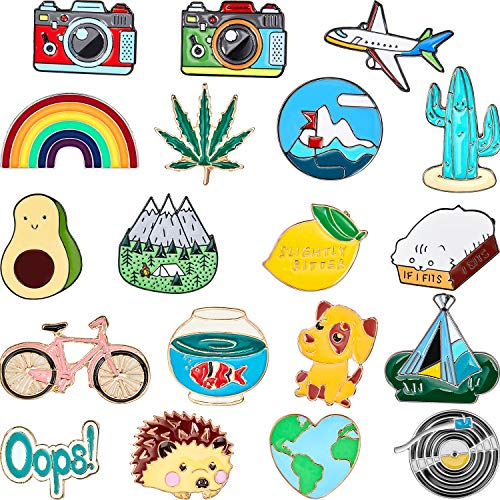 Hicarer 20 Pieces Cute Enamel Lapel Pin Set Cartoon Brooch Pin Badges Brooch Pins for Clothing Bags Jackets Accessory DIY Crafts (Style Set 2)