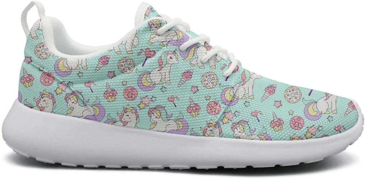 Eoyles gy Green Unicorn ice Cream Cake Rainbow Womens Ladies Slip Resistant Lightweight Running Basketball Shoes