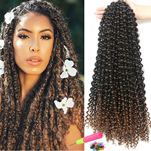 Ombre Passion Twist Hair 18Inch 8Pcs/Lot Kanekalon Saynthetic Fiber Bradis for Passion Twist Crochet Hair Water Wave Hair Curly Faux Locs Braiding Hair Extension(16Strands/Pack,1B/30#)