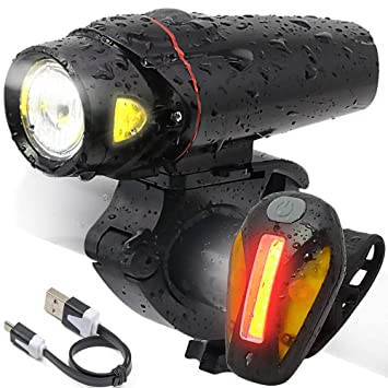 USB Rechargeable LED Bicycle Bike Cycling Head Front Lamp /& Tail Light Set TRL