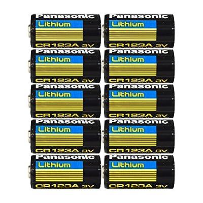 "Panasonic CR123A Lithium 3V Photo Lithium Batteries , 0.67"" Dia x 1.36"" H (17.0 mm x 34.5 mm) , black, Gold, Blue (Pack of 10)"
