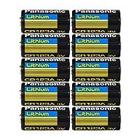 """Baterías de litio fotográficas de litio 3V Panasonic CR123A, 0.67 """"Dia x 1.36"""" H (17.0 mm x 34.5 mm) (Paquete de 10)"""