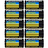 Panasonic CR123A Lithium 3V Photo Lithium Batteries, 0.67' Dia x 1.36' H (17.0 mm x 34.5 mm), black, Gold, Blue (Pack of 10)
