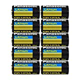 "Panasonic CR123A Lithium 3V Photo Lithium Batteries, 0.67"" Dia x 1.36"" H (17.0 mm x 34.5 mm), black, Gold, Blue (Pack of 10)"