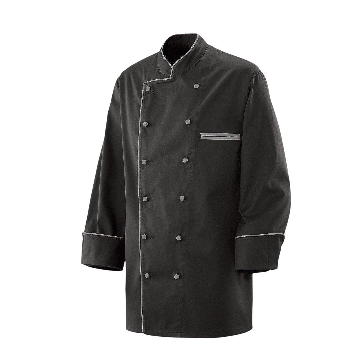 Kochjacke Bäckerjacke Jacke Langarm Schwarz mit Silber grauem Paspel 35% Baumwolle, 65% Polyester 220gr.