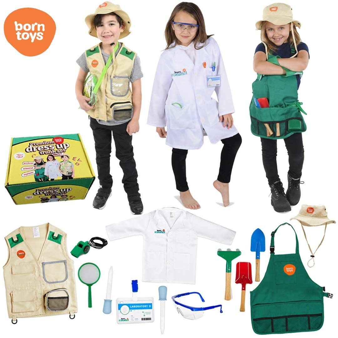 Born Toys Deluxe Premium Washable Dress up Trunk Set.Explorer kit,Garden Set, Scientist Costume,Dr or Vet Costume and Kits for Children and Kids Boys and Girls Ages 3-8 Costumes Halloween