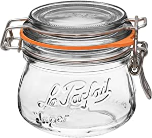 Le Parfait Super Jar - 250ml French Glass Canning Jar w/Round Body, Airtight Rubber Seal & Glass Lid, 8oz/Half Pint (Pack of 6) Stainless Wire