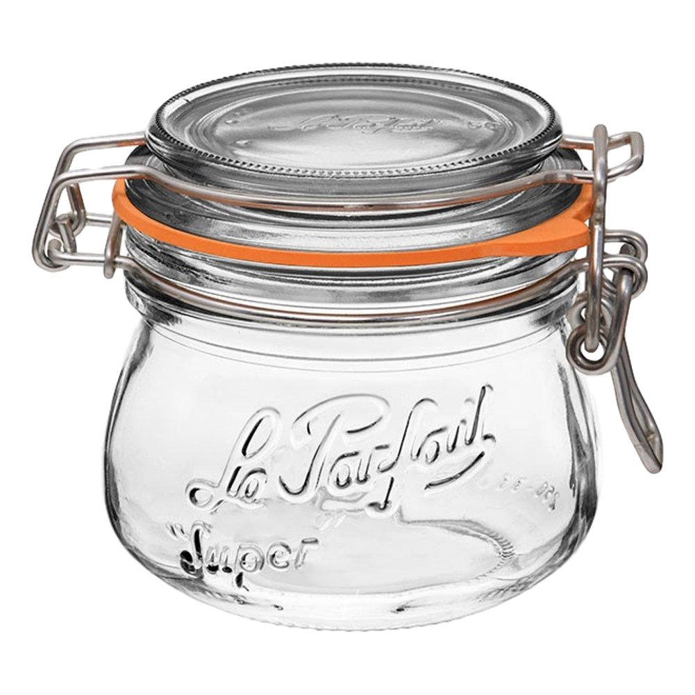 4 Le Parfait Super Jars - New Stainless Steel Wire - Wide Mouth French Glass Preserving Jars with Rounded Bodies, Glass Lids and Natural Rubber Seals - Zero Waste Packaging (4, 250ml - 8oz - SS)