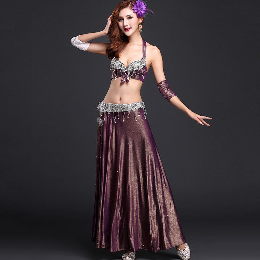 Mysterious purple L MoLiYanZi Indian Dance Dress For Womens Belly Dance Performance Costume Luxury Set 4 PCS