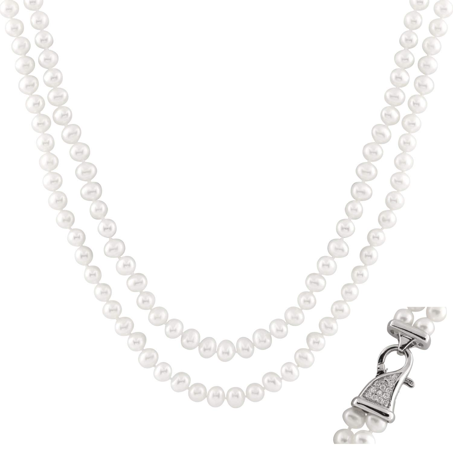 Handpicked AA Quality 6-6.5mm White Freshwater Cultured Pearl Double Strand 18'' Necklace