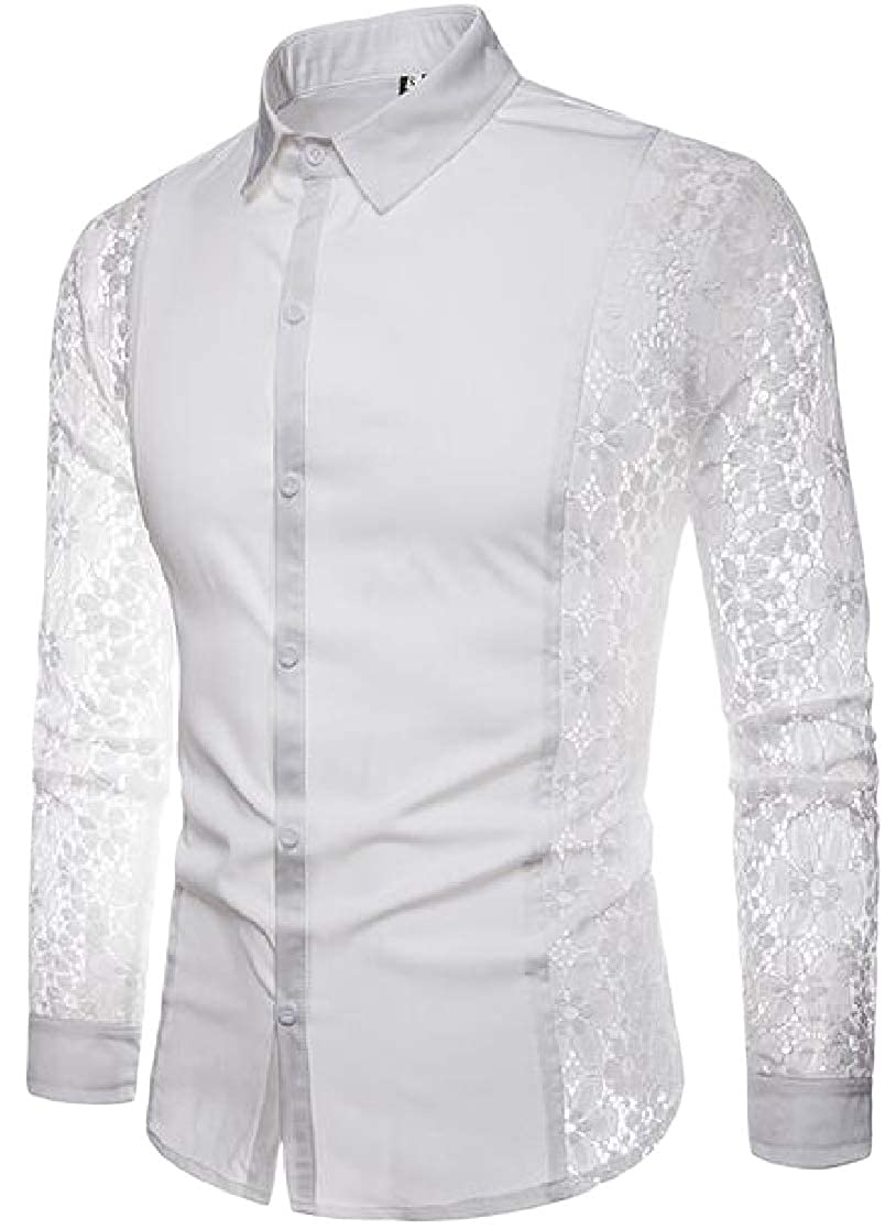 Joe Wenko Men Regular Long-Sleeve Button Down Hollow Out Lace Slim Fit Shirt