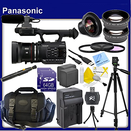 Panasonic AG-AC90A AVCCAM Handheld Camcorder, with 2X 64GB SD Memory Card, SD Card Reader, 2x Replacement Batteries, 0.43X Telephoto Lens, 2.2X HD Telephoto Lens, Lens Cleaning Pen, USB Transfer Cable, Wide Angle Lens, 3 Piece Professional Filter Kit, Pro by Circuit Street