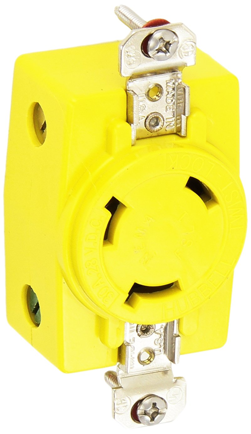 Hubbell Wiring Systems HBL328DCR Locking Single Receptacle with Abuse-Resistant Face, 30A, 28 VDC, Yellow