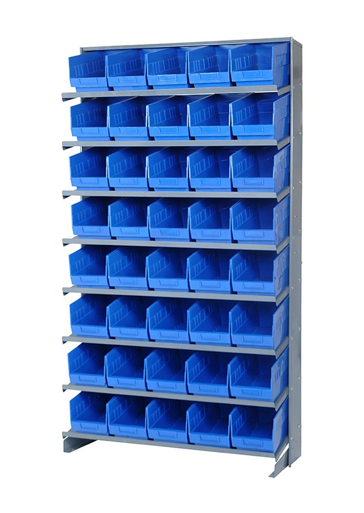 Quantum Storage Systems Store More Single-Sided Pick Rack System - 40 QSB202 6'' Shelf Bin Complete Package 12'' x 36'' x 60'' - Blue