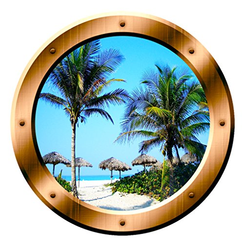 Beach Scene Wall Decal Porthole Palm Trees Window Sticker Wall Art Peel And Stick Decor VWAQ-BP14 (14