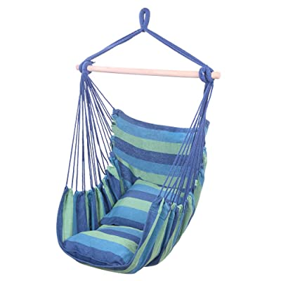 Uenjoy Distinctive Cotton Canvas Hammock Chair Hanging Rope Swing for Indoor, Outdoor, Garden, Patio, Porch, Yard - 2 Seat Cushions Included - Superior Comfort & Durability (Blue): Toys & Games