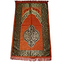 Islamic Prayer Rug - Muslim Prayer Mat Sajadah Carpet - Orange