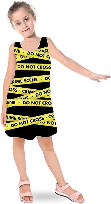 Crime Scene Tape Sleeveless Dress Flared Short