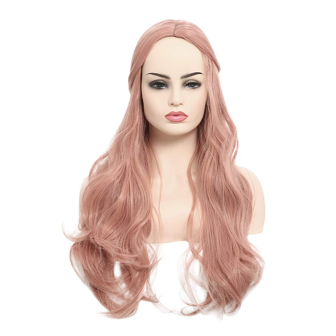 FESHFEN NONE Lace Front Wig Synthetic Long Wavy Natural Hairline Heat Resistant Fiber Hair Replacement Wigs for Women Girls 24 Inch Rose Gold