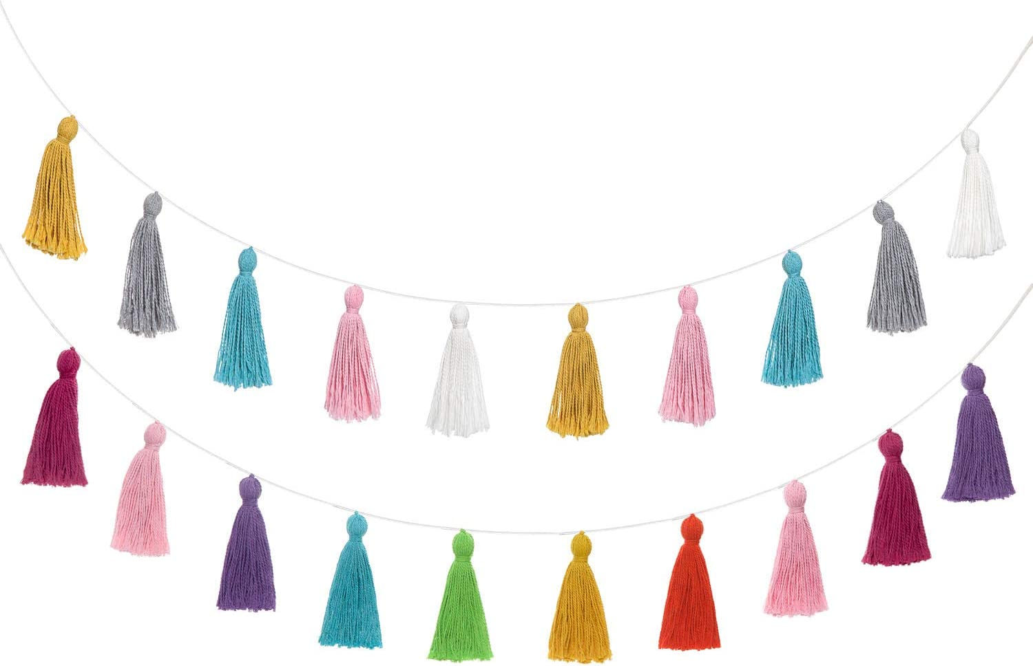 Mkono 2 Pack Cotton Tassel Garland Colored Tassels Banner Christmas Decorative Wall Hangings for Boho Home Decor,Xmas Tree Decorations Ornament, Holiday Party, Baby Shower, Nursey Dorm Room