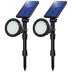 OSORD Solar Lights Outdoor, Upgraded Waterproof 18 LED 2-in-1 Solar Landscape Spotlights Wall Light Auto On/Off Solar Powered Landscape Lighting for Garden Yard Deck Driveway Walkway Pool (Cool White)