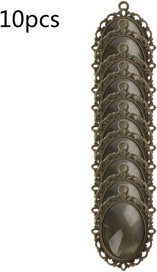 ovale Anh/änger L/ünette Tabletts und 10 St/ück Glaskuppel Fliesen Cabochon zum Basteln DIY Schmuck Machen SimpleLife10 St/ück Anh/änger Set