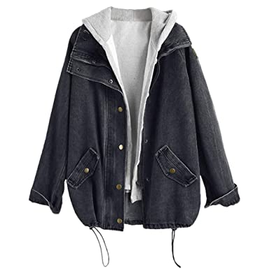 bb0813849a2 ZAFUL Women's Hooded Denim Jacket Plus Size Drawstring Fashion Boyfriend  Trends Two Piece Coat Outerwear Black