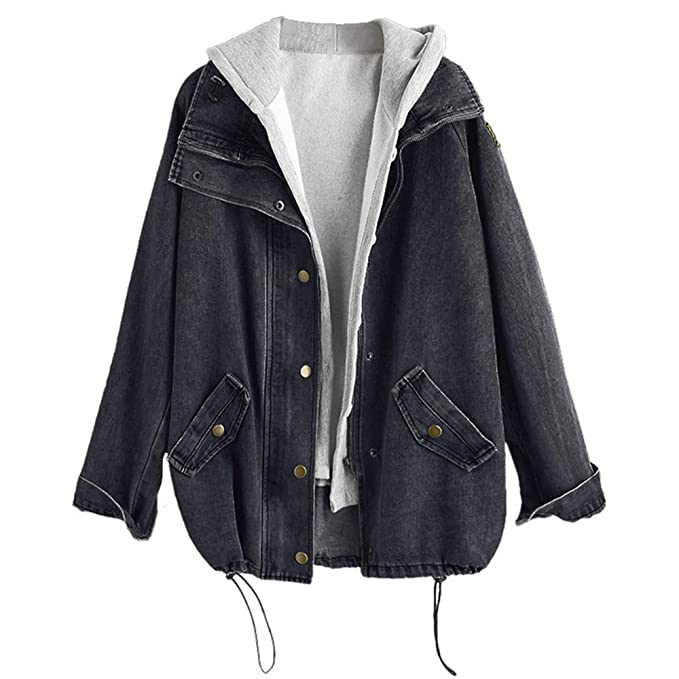 myöhemmin ilmainen toimitus virallinen ZAFUL Women's Hooded Denim Jacket Plus Size Drawstring Fashion Boyfriend  Trends Two Piece Coat Outerwear
