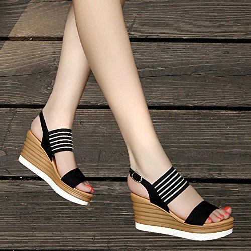 SHOESHAOGE Sandales Femme Spécial Poisson Épais Bouche Sandales Femme Pente Avec High-Heeled Taiwan Imperméables Chaussures Femmes EU35 S6u6CL