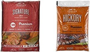 Traeger Grills PEL331 Signature Blend 100% All-Natural Hardwood Pellets - Grill, Smoke, Bake, Roast, Braise, and BBQ (20 lb. Bag) & PEL319 Hickory 100% All-Natural Hardwood Grill Pellets