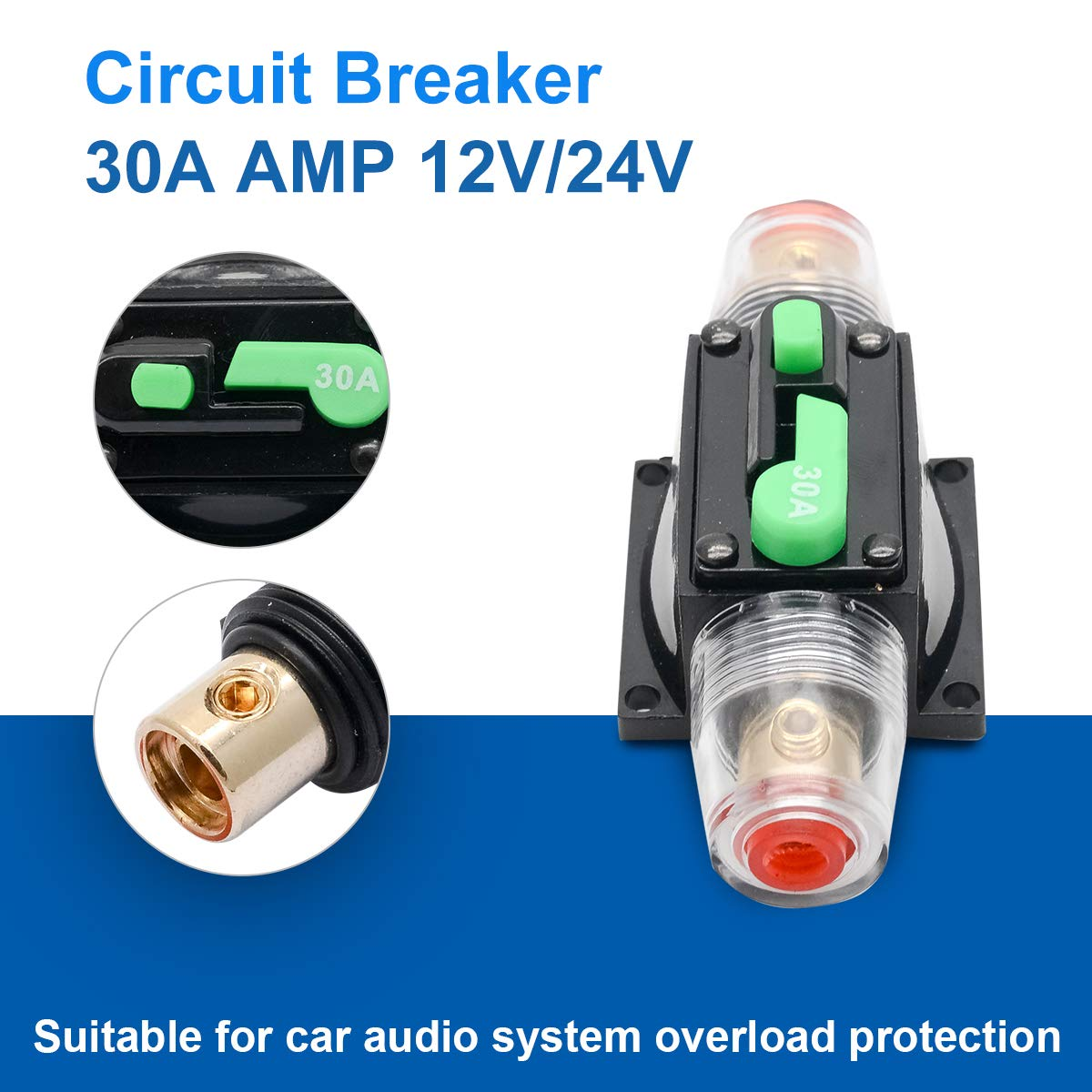50 Amp Circuit Breaker with Manual Reset HugeAuto 12V-24V DC Car Audio Inline Circuit Breaker Fuse Block for Auto Motor Car Marine Boat Audio Solar Inverter System Protection
