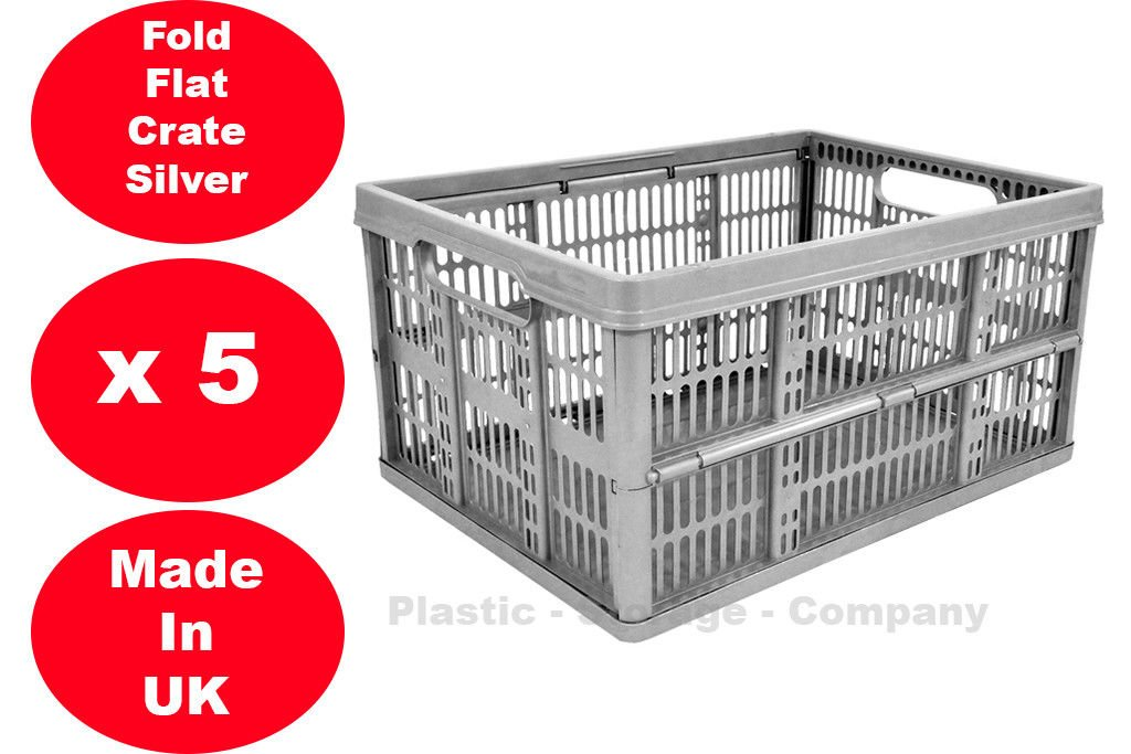 5 x 32 Litre Foldable Crate Plastic Storage Box Basket Viss
