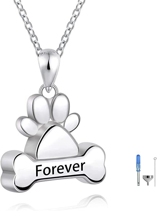 PET CREMATION JEWELRY Double Sided 925 Sterling Silver Pet Memorial Jewelry Custom Pet Loss Pendant Dog Cat Horse Cremation Ashes Pendant