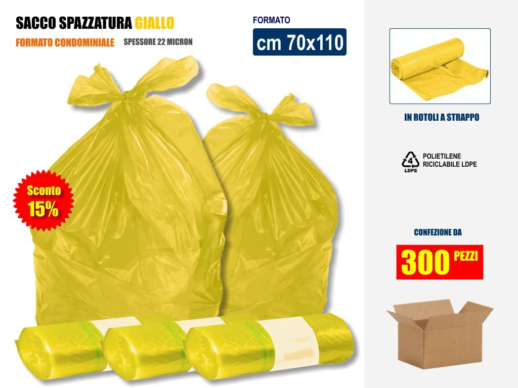 SCONTO 15% !! SACCHI SPAZZATURA GIALLI IN PLASTICA PE-LD Cm 70x110 (110 litri) - SCATOLA DA 300 SACCHETTI Imbalshopper Srls