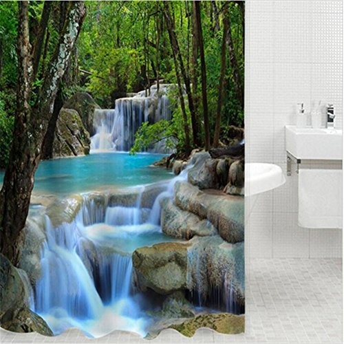 HomJo Cortina de ducha durable Maravillas cascadas Verde Naturaleza Paisaje Baño tejido antideslizante de poliéster con...