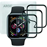 【3枚入り】Apple Watch 44mm フイルム AROC 軟質材料HDフィルム Series 4 液晶フイルム/透明度が高い/ 3D 全面保護/レンズフィルム/耐衝撃/指紋防止/気泡ゼロ/スクラッチ防止/超薄アップルウォッチシリーズ4 液晶保護フィルム