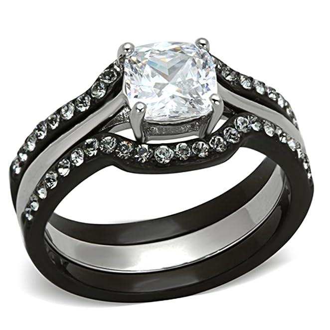 Amazon 185 Ct Cushion Cut CZ Black Stainless Steel Wedding Ring Set Womens Size 5 11 Jewelry