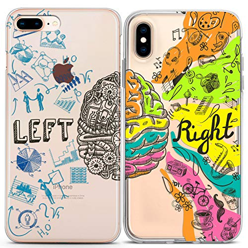 Lex Altern Couple iPhone Case Xs Max X Xr 10 8 Plus 7 6s 6 SE 5s 5 TPU Clear Brain Drawing Apple Girlfriend Left Gift Best Friend Phone Cover Right Colorful Print Boyfriend Protective Matching Soft