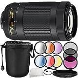 Nikon AF-P DX NIKKOR 70-300mm f/4.5-6.3G ED VR Lens 10PC Accessory Bundle – Includes Manufacturer Accessories + 3 Piece Filter Kit (UV + CPL + FLD) + MORE (Certified Refurbished)