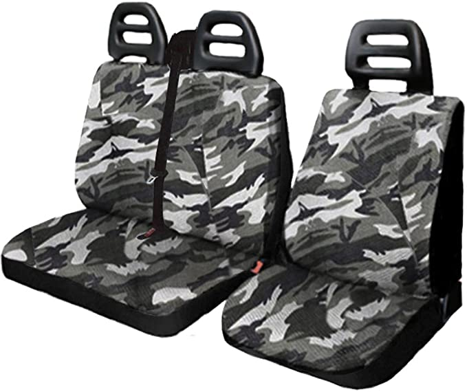 Lupex Shop Co.Se/_Furg/_Ca.Mch Housses de si/ège en Tissue de Coton pour fourgons avec la Ceinture de securit/é d/'en Haut Camouflage Clair