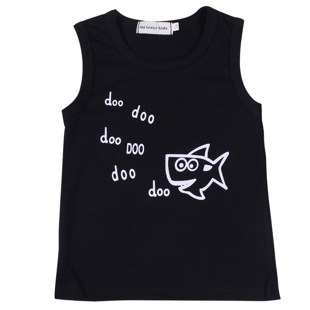 iiniim Summer Newborn Baby Boys Doo Shark Outfit Suit T-Shirt Top+Short Pants 2pcs Clothes Set