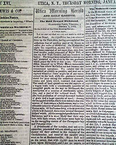 Rare UTICA NY Mohawk Valley Oneida County New York 1863 Civil War Era Newspaper UTICA MORNING HERALD, New York, Jan. 15, 1863 Among the column hea.