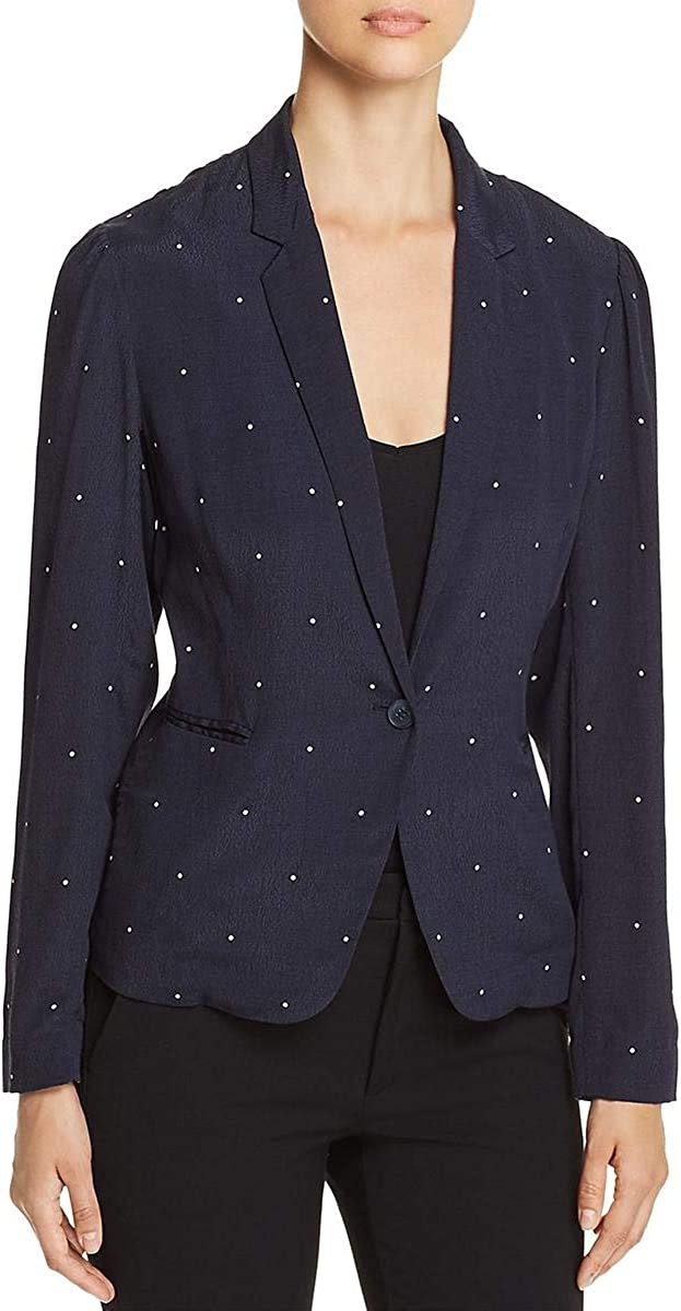Vince Camuto Womens Soho Pindot Notch Collar One-Button Blazer