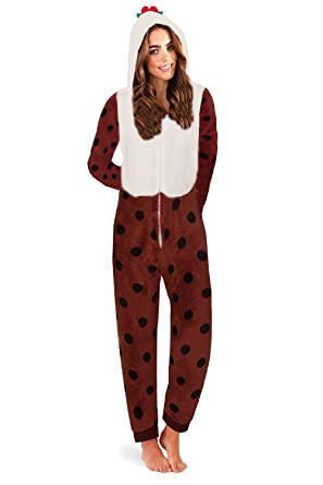 e4685a10b51f Loungeable Womens Christmas Onesies - Adults Christmas Pudding All in One -  Small