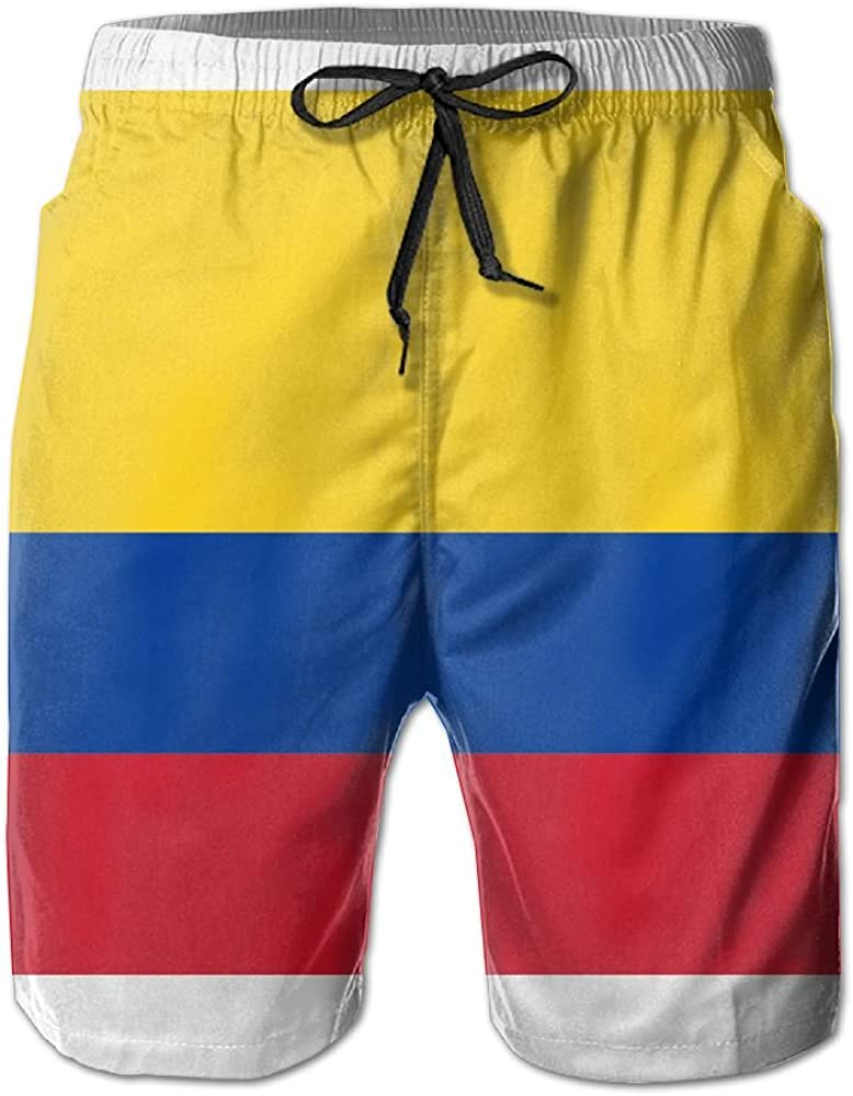 LUASD Mens Bright-Colored Colombia Grandeur Flag Quick Drying Moisture Perspiration Swim Trunks